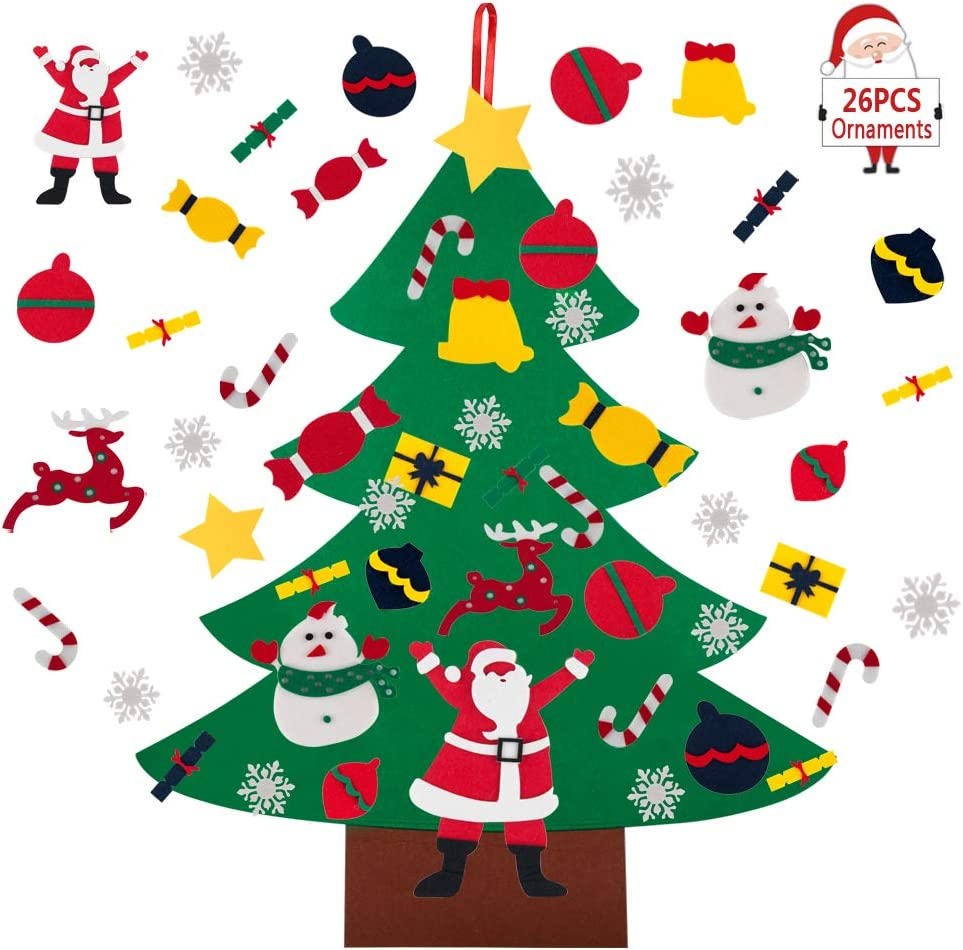 BTSD-home Felt Christmas Tree for Kids, 3ft DIY Christmas Tree with 24 Pcs Detachable Ornaments for Kids Xmas Gifts Wall Door Hanging Christmas Decorations