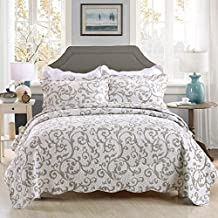 3-Piece Bedding Set Grey Paisley Floral Patchwork Bedspread Quilt Sets Queen