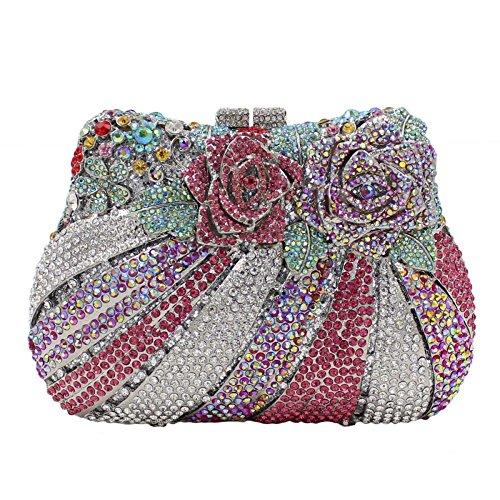 Crystal NBWE Bags Rhinestone Wedding Clutch Handbag Women Colorful Purse Evening Rose Evening Bag Clutch rIRnS1TqI