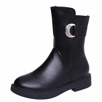 a943bc248d83 ENMAYER Womens Black PU Casual Black Platform Round Toe Zip Block Heel Low  Heel Ankle Boots