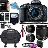 Canon EOS REBEL T7i Camera EF-S 18-55 IS STM Lens Kit, Lexar 64GB Memory Card, Camera Bag, 2.2x Telephoto Lens, Wide Angle Lens and Premium DigitalAndMore Accessory Bundle