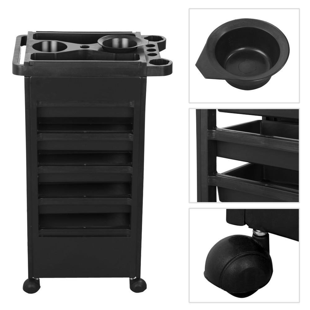 Topeakmart Salon Hairdresser Barber Beauty Storage Trolley Hair Drawers Roller Cart