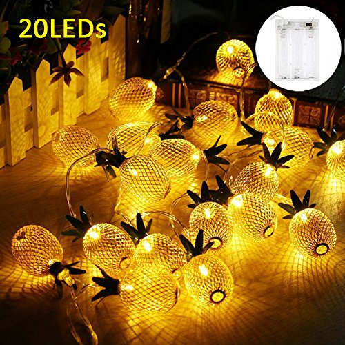 Adecorty Pineapple String Lights, 15ft 20 LED Fairy String Lights Battery Operated for Patio Landscape Home Wedding Party Bedroom Birthday Decoration (Warm White) by Adecorty