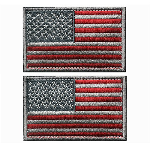 AKOAK 2 Pieces American US Flag Embroidered Patch with Magic