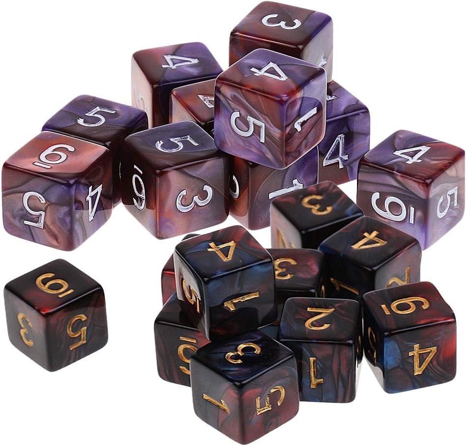 sharprepublic 20 Piezas Dados De 6 Caras Dados Polihédricos D6 para Juegos De Mesa De Mazmorras Y Dragones: Amazon.es: Juguetes y juegos