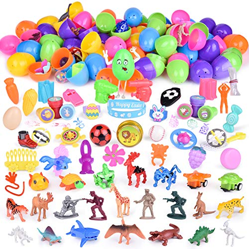 100PCs Easter Egg Stuffers Mini Toys Filled Easter Eggs, Easter Basket Stuffers with Small Toys, Easter Hunt, Easter Egg Fillers, Goodie Bags, Pinata Toys and -