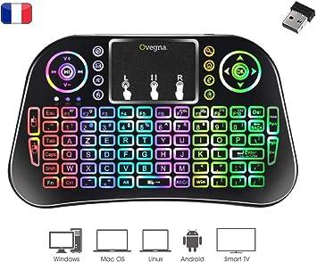 Ovegna i10: Mini Teclado inalámbrico AZERTY, inalámbrico 2.4Ghz, Touchpad, batería Recargable, RGB retroiluminado, para Smart TV, PC, Mini PC, Mac, Raspberry PI 2/3/4, Consolas, PC, Android Box: Amazon.es: Electrónica