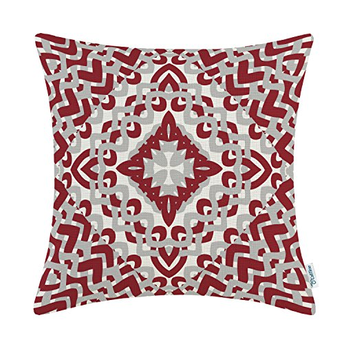CaliTime Canvas Throw Pillow Cover Case for Couch Sofa Home Decoration Modern Geometric Compass 18 X 18 inches Burgundy -