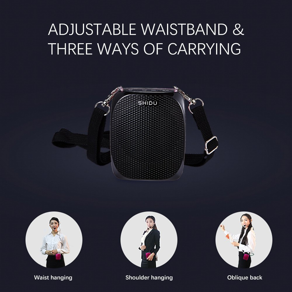 Portable Voice Amplifier Pa system loud speaker with 1800mAh Rechargable Lithium Battery , Wired headset Microphone Waist Support Suitable for Tour Guides, Teachers, Coaches, Presentations, Costumes by SHIDU (Image #9)