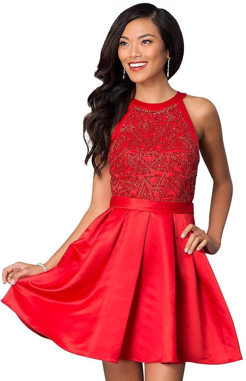 Women's Causal Short Bling Beaded Corset Sleeveless Homecoming Dresses
