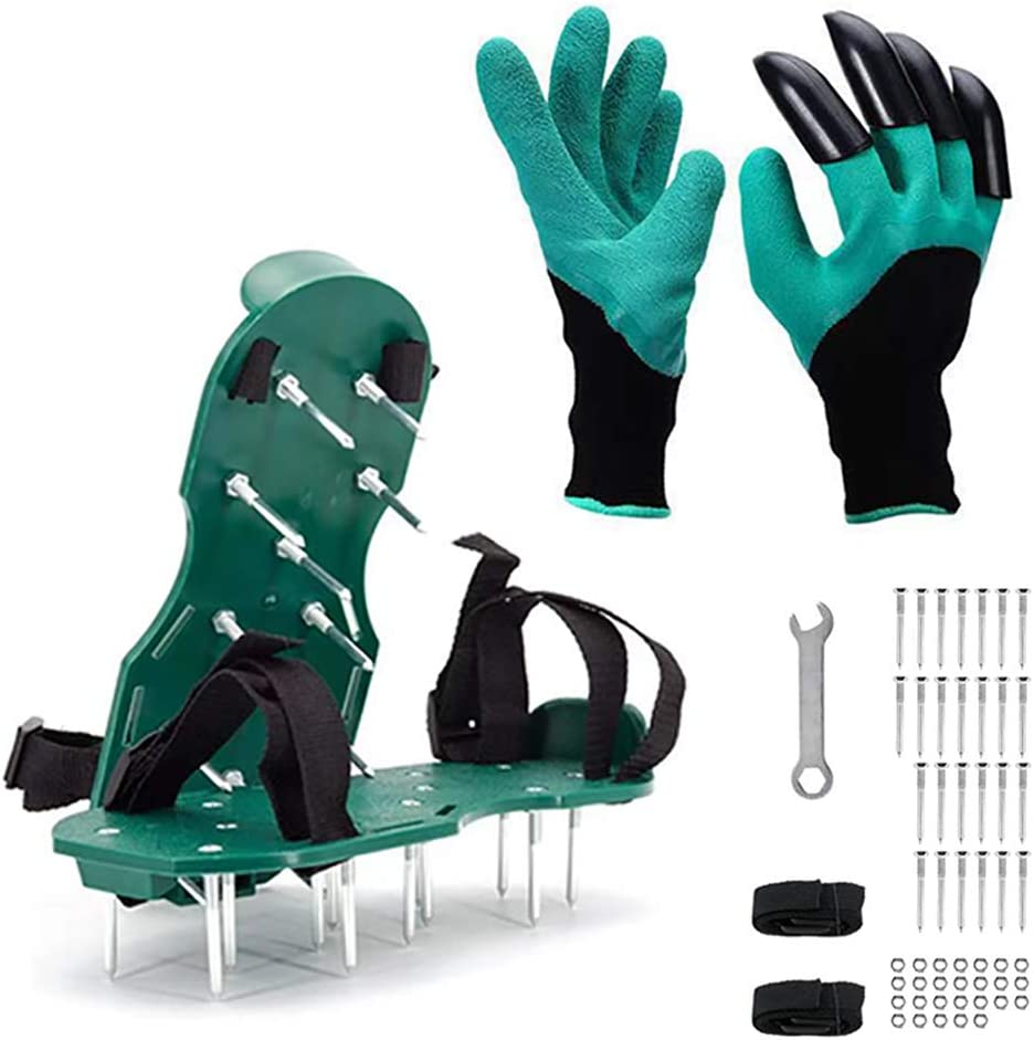 VWMYQ Lawn Aerator Shoes with Straps, Garden Genie Gloves with Claws for Digging Planting, Lawn and Garden Tool Reduces Thatch Heavy Duty Spiked Sandals for Grass Aerating Your Lawn or Yard
