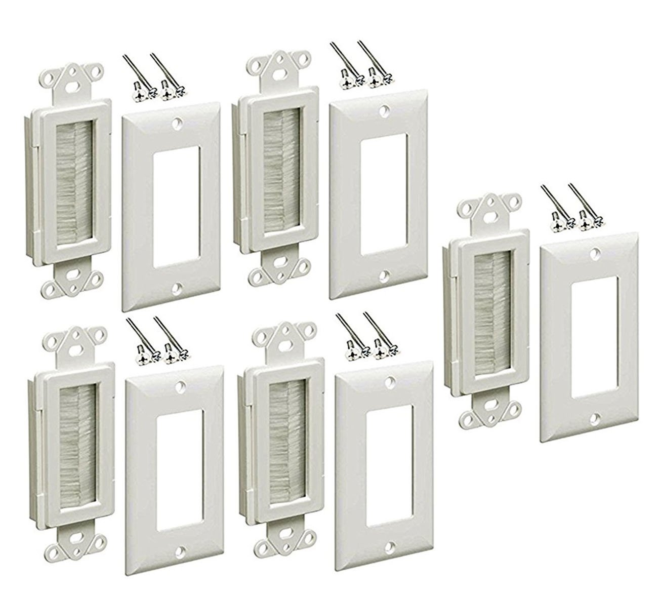iMBAPrice Brushed Wall Plate - Decora Style Cable Pass Through Insert for Wires Wall Socket Plug Port/HDTV/HDMI/Home Theater Systems and More (Pack of 5) - White by iMBAPrice