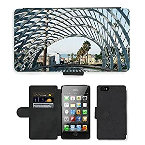 Hot Style Cell Phone Card Slot PU Leather Wallet Case // M00170299 Bridge Pattern Structure Roof Grid // Apple iPhone 4 4S 4G