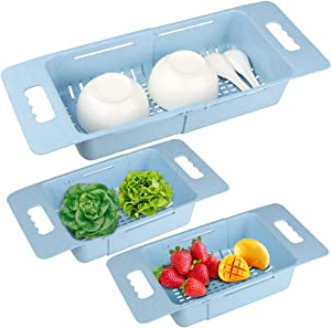 [3 Pack] Sink Colander Multifunctional Extendable Over the Sink, Tomorotec Dish Drying Rack Vegetable/Fruit Colanders Strainers Basket for Kitchen