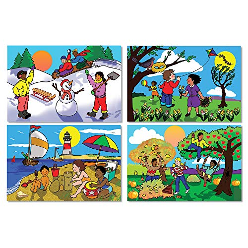 Melissa & Doug Seasons Floor Puzzle (Easy-Clean Surface, 48 Pieces, Each Puzzle Is 12 L x 18 W When Assembled, Great Gift for Girls and Boys - Best for 3, 4, 5, and 6 Year Olds)