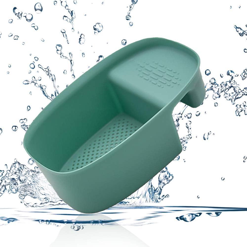 Sink Colander Drain Basket, Multifunction Saddle-shaped Strainer for Filter Kitchen Waste and Wash Vegetables Fruits (Green)