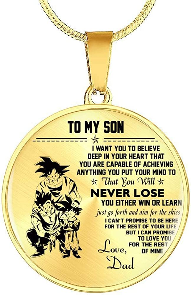 ThisYear I Choose Circle Necklaces Pendant Vegeta Pendants Necklace for Men Unique Birthday Gifts for Dad Brother Dragon Ball Super Gift