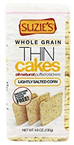 Suzie's Thin Cakes, Whole Grain Lightly Salted Corn, 4.6 Ounce (Pack of 12)