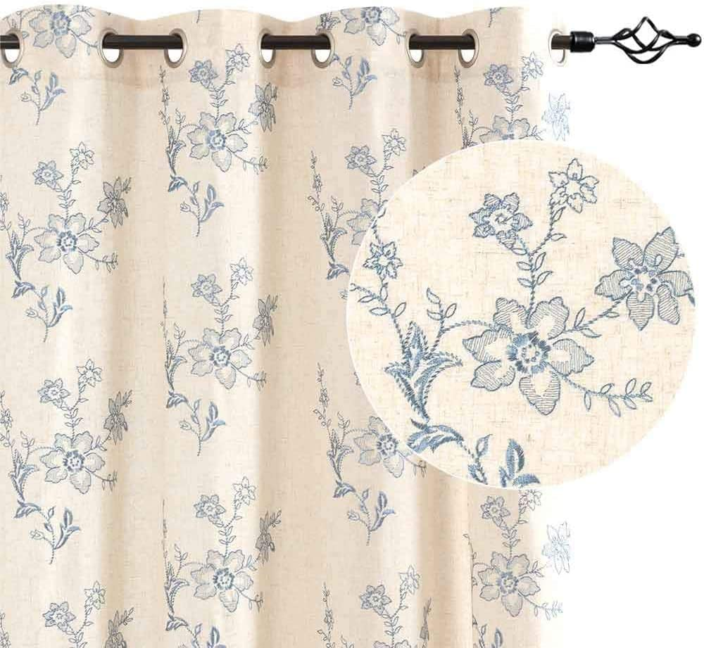 Blue Window Curtains Linen Like Ring Top for Living Room Bedroom Curtain with Floral Embroidered Design 2 Panels 63 inch