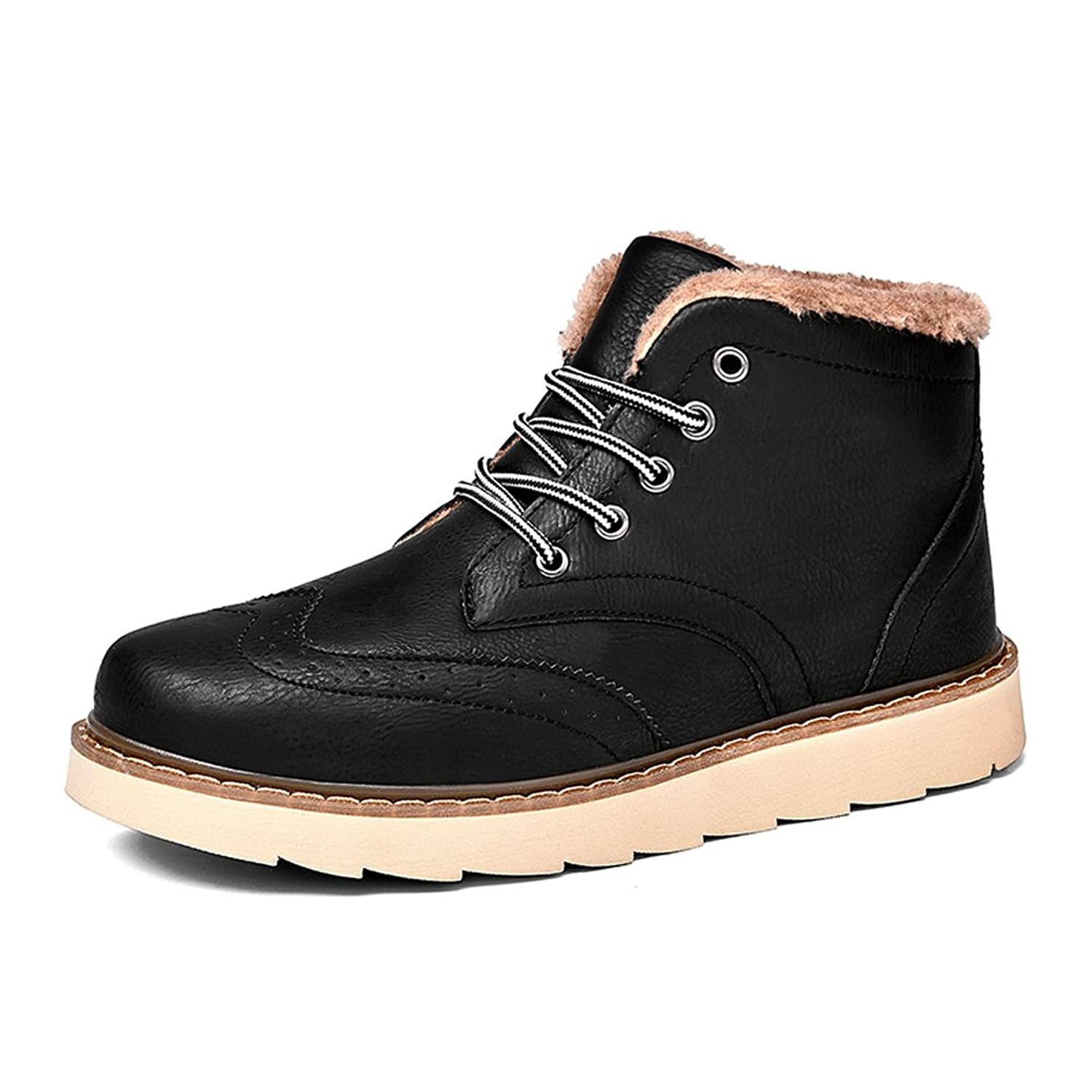 TAIGEL Mens Fur Lining Lace Up Outdoor Waterproof Insulated Winter Snow  Chukka Boots