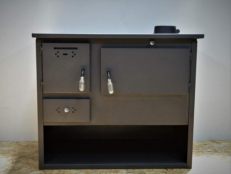 Estufa de leña, horno de cocina de combustible sólido, chimenea superior 7,5 kw de potencia de calefacción