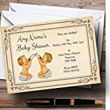 Vintage Twins Baby Shower Personalized Invitations