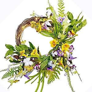 Spring Wreath Pre-lit Floral Morning Glory Garland Flower Decor Twig Wreath, 20 Inch 13