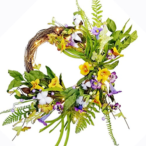 Spring Summer Wreath Pre-lit Floral Morning Glory Garland Flower Decor Twig Wreath, 20 Inch, Battery Operated, Yellow and Purple