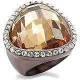 ISADY - Beckett - Damen Ring - 585er 14K Gold platiert Kaffeefarben- Zirkonium Braun