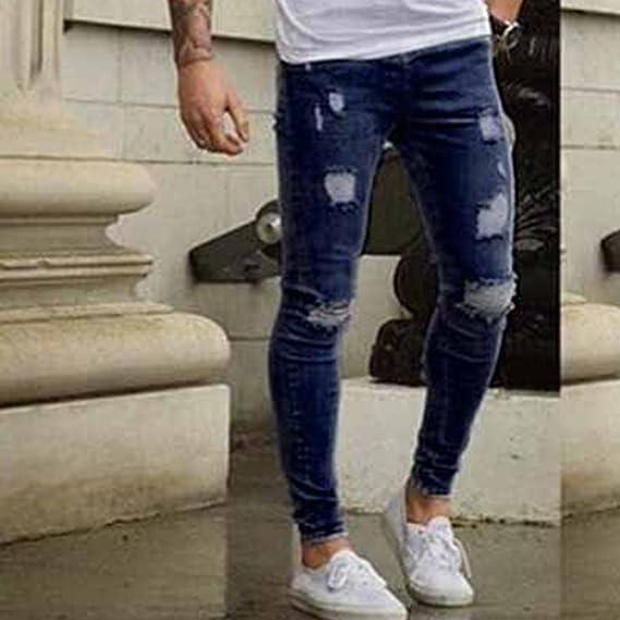Skinny Vaqueros Hombre - Fashion Slim Pantalones Rotos con ...