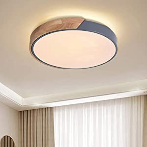 EDISLIVE Ceiling Light Dimmable 19inch Modern Minimalist LED Round Shaped Wood & Metal & Acrylic Flush Mount Ceiling Light with Remote Control Gray