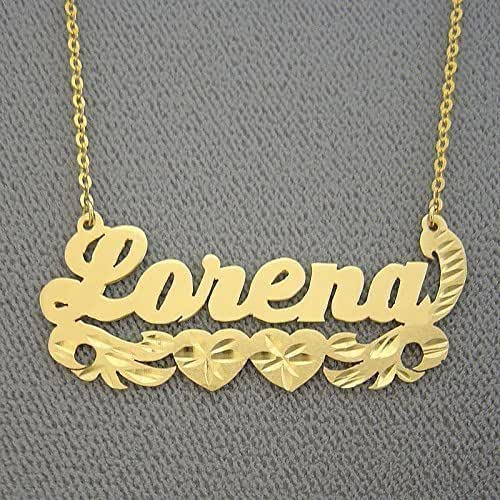 solid 14k gold name necklace diamond cut two. Black Bedroom Furniture Sets. Home Design Ideas