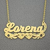 10k Gold Name Necklace Diamond Cut Two Hearts Design Personalized Nameplate Jewelry