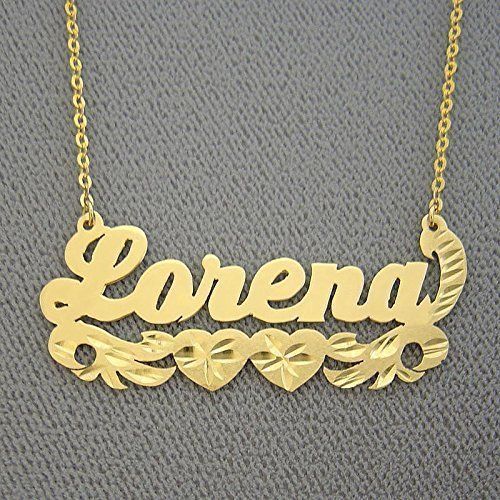 10k Gold Name Necklace Diamond Cut Two Hearts Design Personalized Nameplate Jewelry by Soul Jewelry Inc