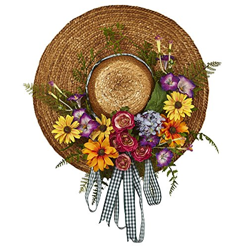 Chapman Greens Farmhouse Floral Wreath Mixed Flower Hat for Doors Walls Windows Spring and Summer Decor