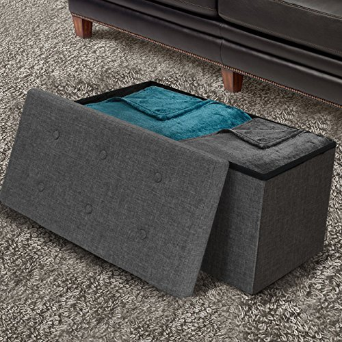 Sorbus Storage Ottoman Bench Collapsible Folding Bench Chest with Cover Perfect Toy and Shoe Chest, Hope Chest, Pouffe Ottoman, Seat, Foot Rest, Contemporary Faux Linen Gray