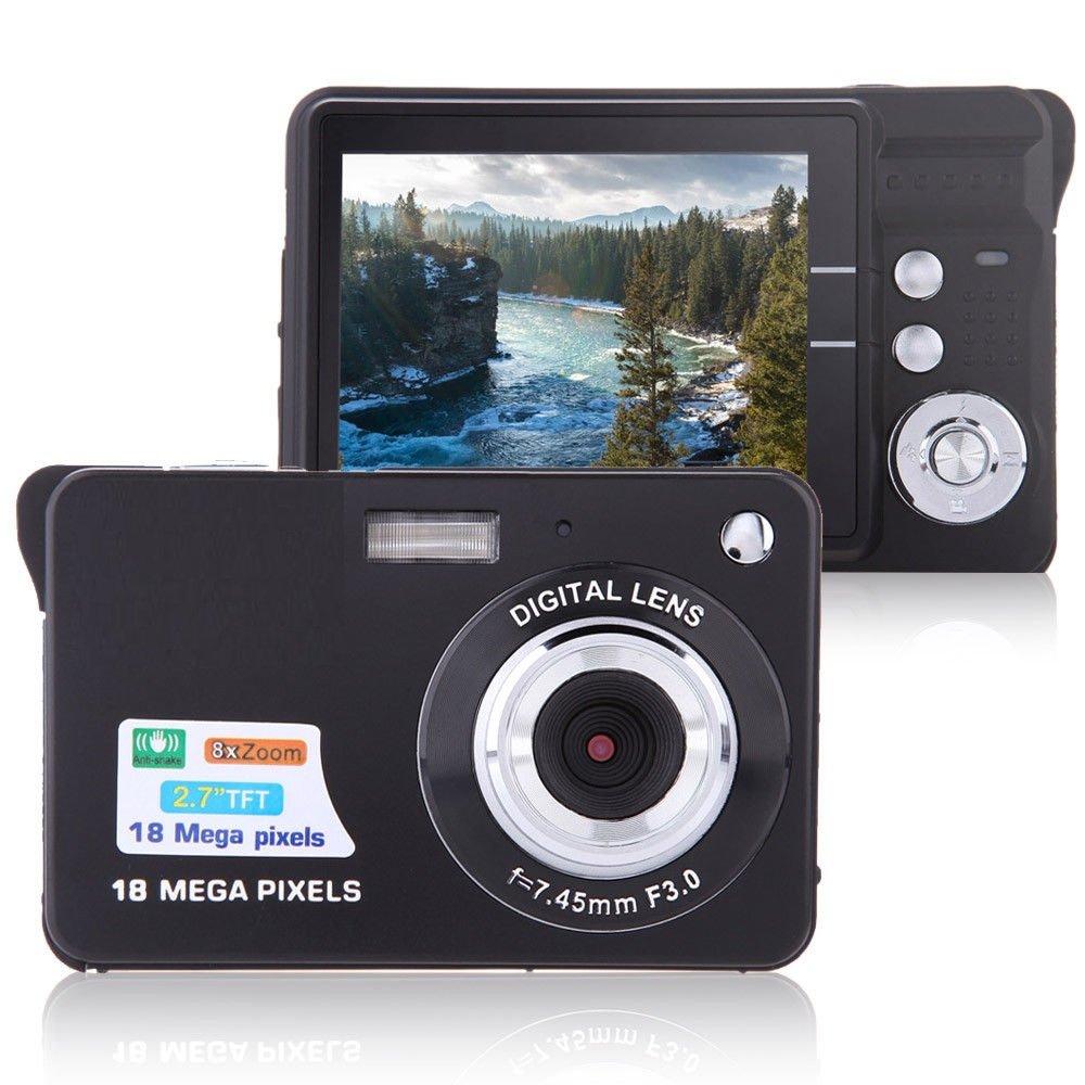 Digital Camera, Lyyes 2.7'' Mini Camera HD 720P Digital Point Shoot Camera Camcorder 8X Zoom Camera for Kids and Gifts (Black)