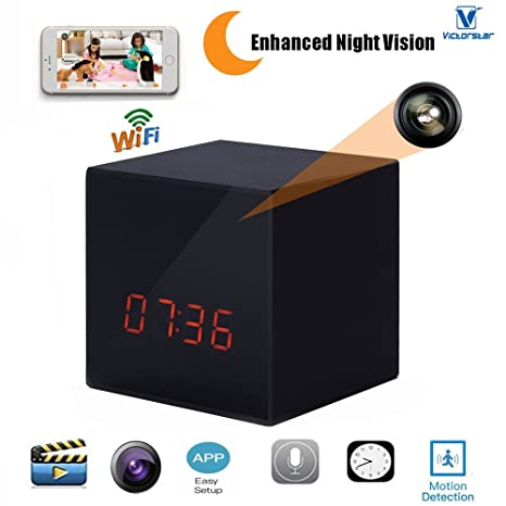 VICTORSTAR @ WiFi Ocultos Cámara de Vigilancia Con Reloj Digital / Cámara de Niñera WiFi + Smartphone APP ...