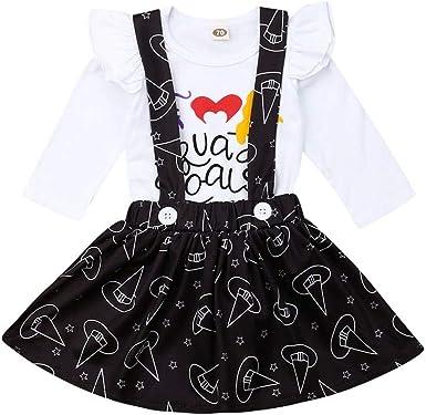 Conjunto de Ropa para niñas y bebés con Cuello de Volantes y Estampado Floral, Falda con Correa de botón, Vestido de algodón, 2 Piezas de 0 a 24 Meses: Amazon.es: Ropa y accesorios