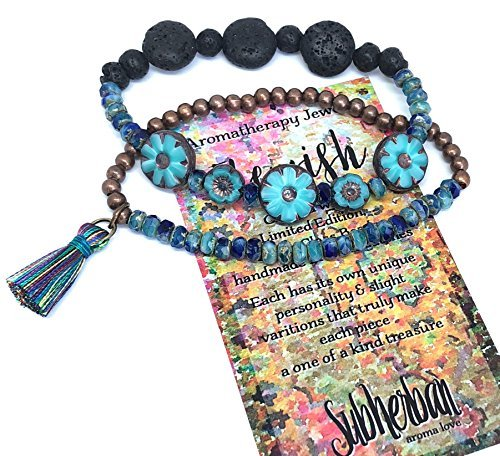 Subherban Handmade Essential Oils Aromatherapy Bracelet Jewelry Set - FLEURISH - Turquoise Czech Glass Lava Stone Diffuser for Women