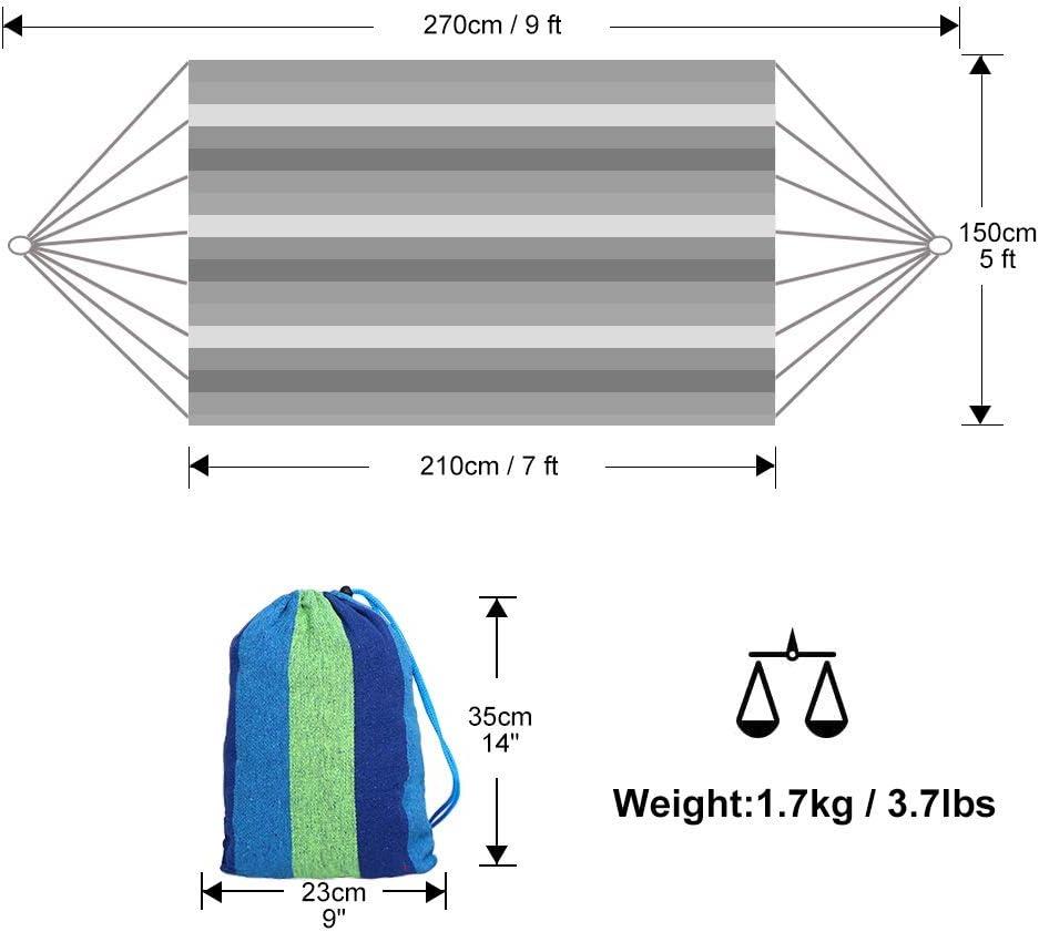 capacit/é 200Kg L/éger avec Sac de Transport pour la Plage et Randonn/ée P/édestre de la Plage en Plein air Portable en Toile Anyoo Hamac dext/érieur de Camping