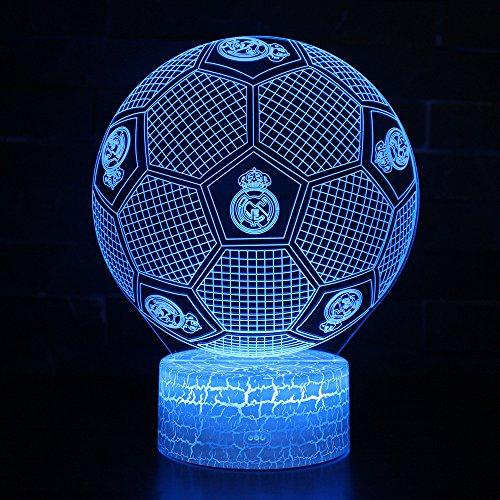 3D Lampara de Escritorio Win-Y LED 7 del tacto del color de la lampara del dormitorio del hogar decoracion de la oficina para los ninos y regalo de Navidad de cumpleanos (Futbol Real Madrid)