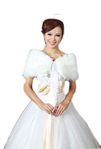 Capa Mujer Chal Elegantes Invierno Festiva Boda Accesorios De Novia Termica Piel Sintética Novia Bridal Chaqueta De Novia Especial Estilo Bolero (Color ...