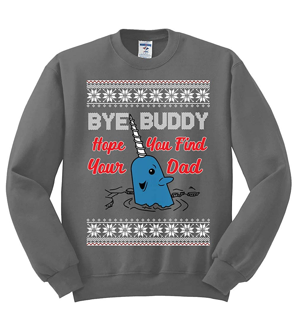 Unisex Ugly Christmas Sweater Crewneck Graphic Sweatshirt Wild Bobby Narwhal Hope You Find Your Dad Quote