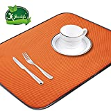 Jovilife Dish Drying Mat Kitchen Mat(set of 2) Microfiber Absorbent Washable, 18*24 Inch, Orange