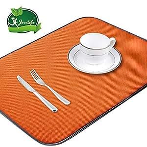 Jovilife Dish Drying Mat Kitchen Mat(set of 2) Microfiber Absorbent Washable, 18*24 Inch, Orange by Jovilife