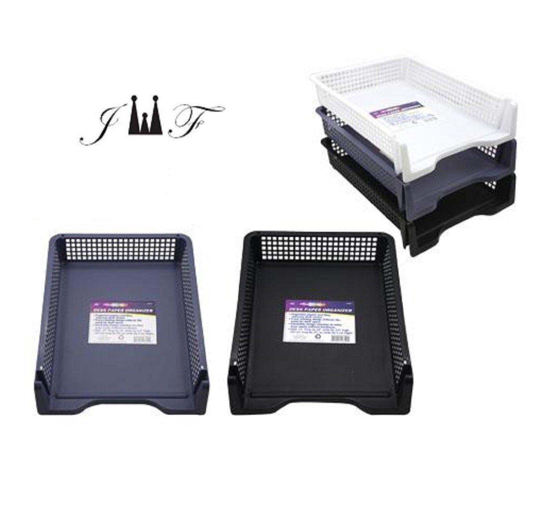 Desk Organizer, Sturdy Plastic Desktop Paper File Document Letter Holder, Stackable 5 Tier Compartment Sorter Tray. White, Gray, Black Ideal for Home, Office, School Workstation
