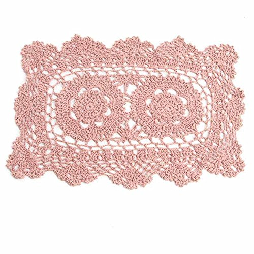 "Factory Direct Craft 12"" Rose Colored Rectangle Cotton Hand Crocheted Lace Doilies, Set of 3"