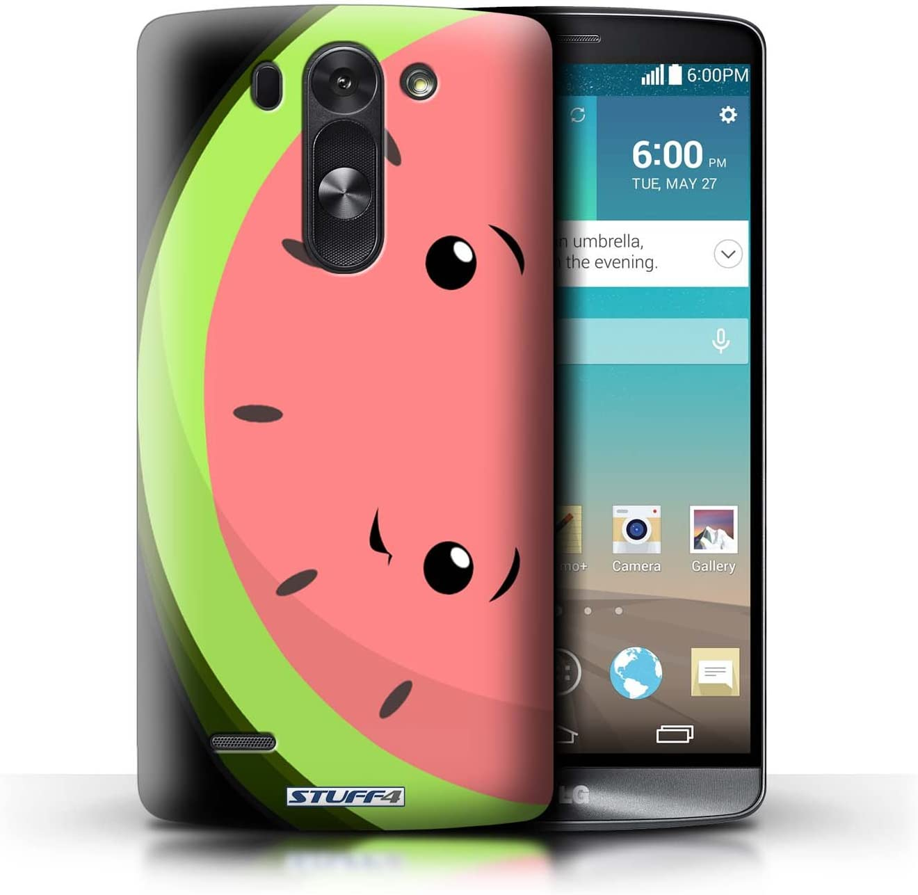 Phone Case for LG G3 Mini S/D722 Kawaii Food Watermelon Design Transparent Clear Ultra Slim Thin Hard Back Cover