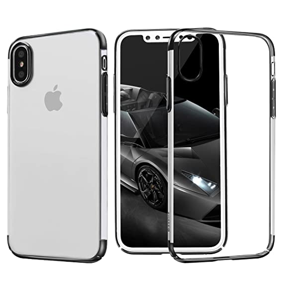 newest 6f389 f4662 iPhone X Case, Baseus Shinning Plating Design PC Bumper [Drop Protection]  Clear Back Transparent Shock Absorption Protective Cover Bumper for Apple  ...